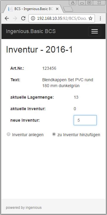 Mobile Inventurbuchung in ein Inventurdokument