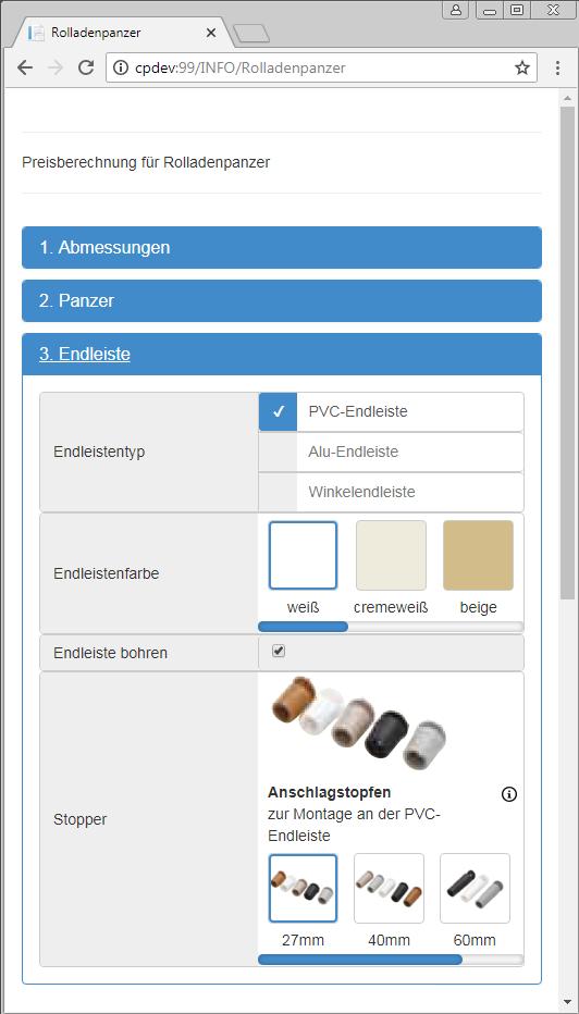 Ingenious Web Produktkonfigurator auf Smartphone