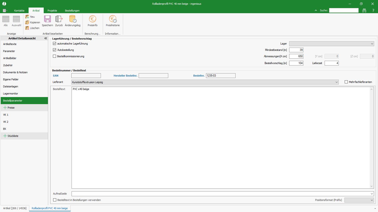 Ingenious Software Artikel Detailansicht Bestellparameter