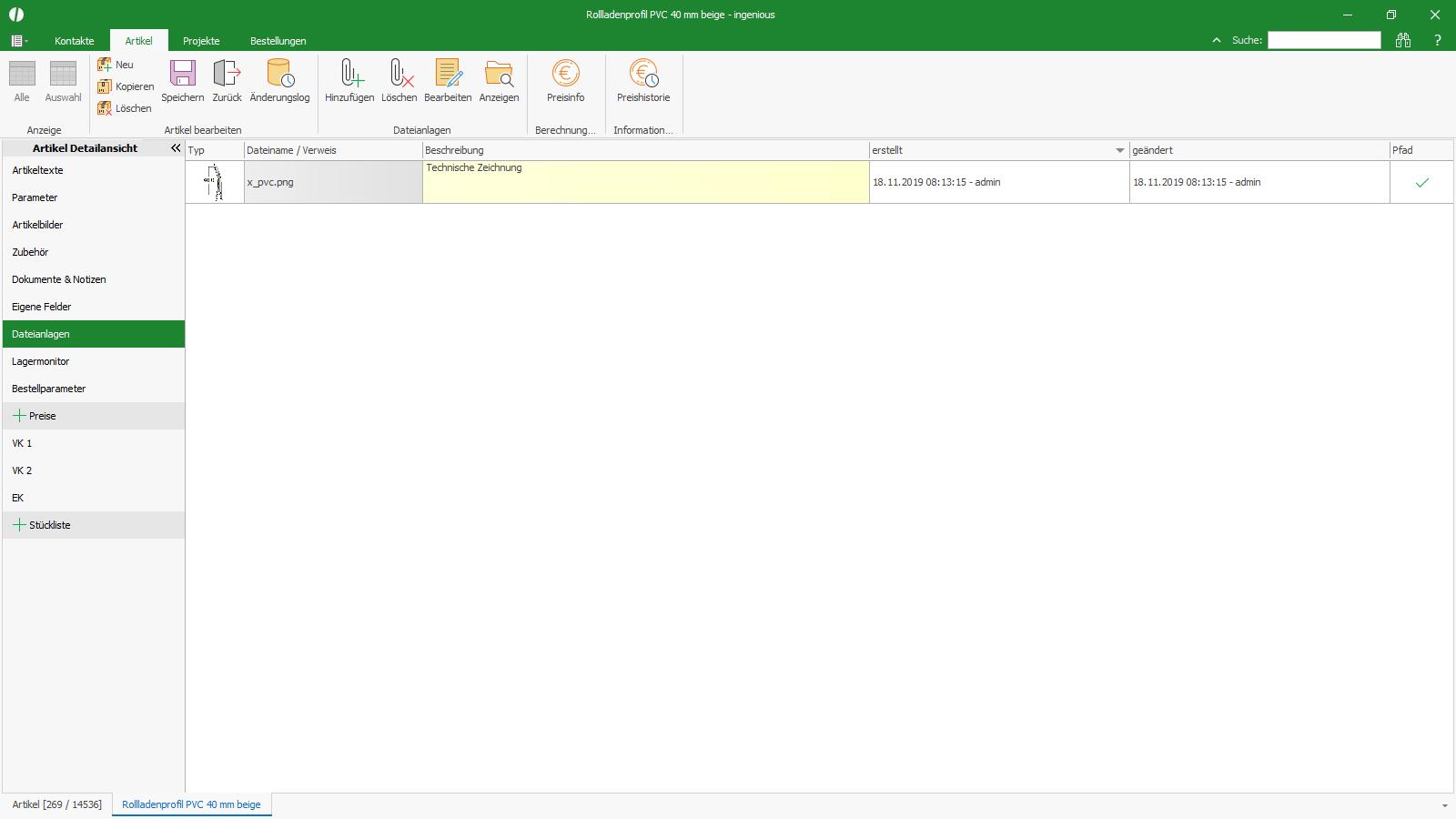 Ingenious Software Artikel Detailansicht Externe Dateianlagen