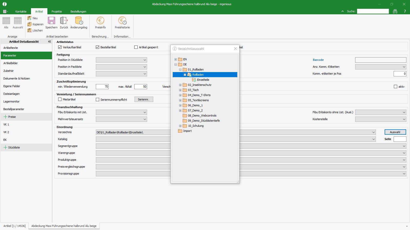 Ingenious Software Artikel Detailansicht Katalogzuweisung