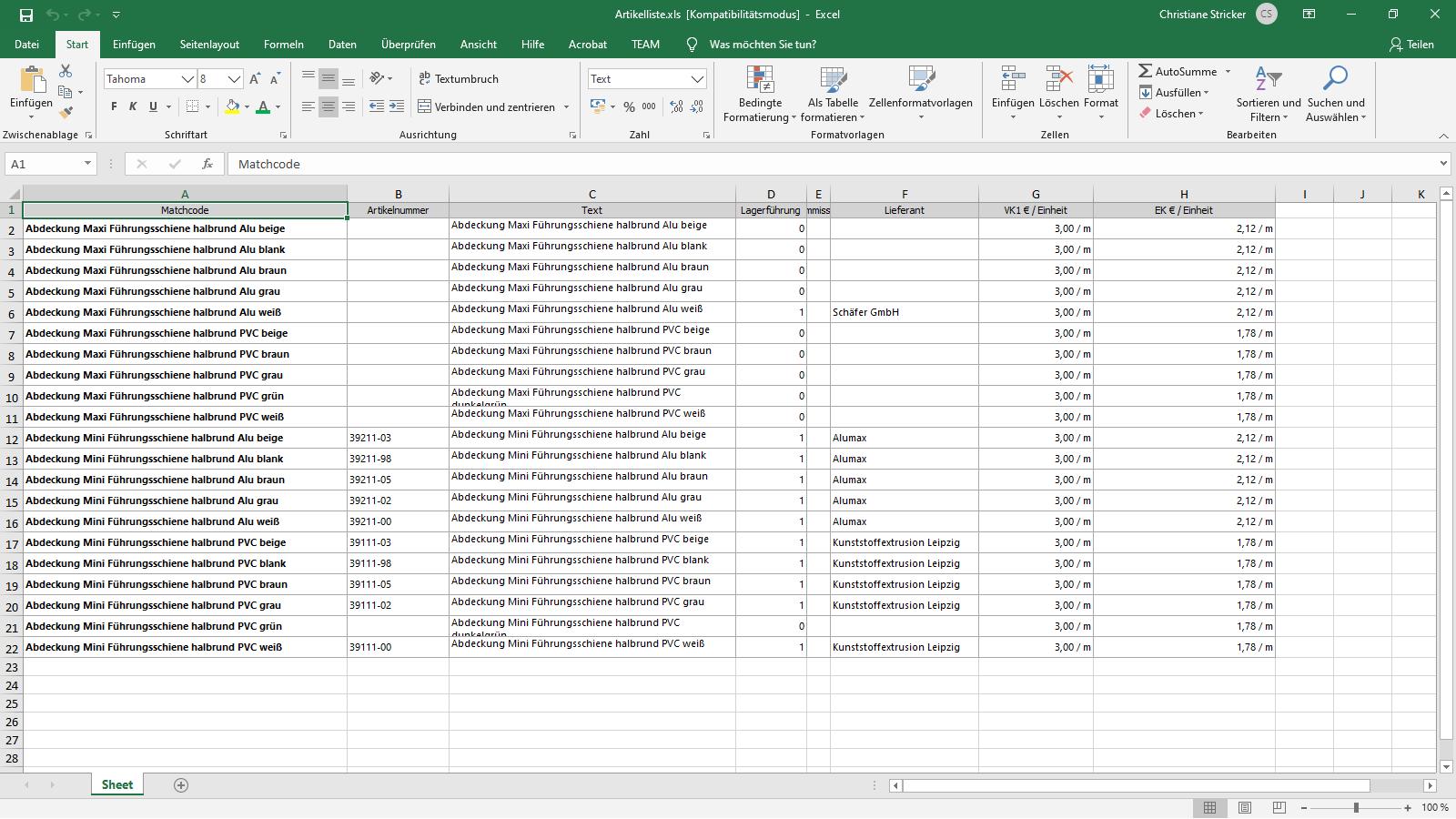 Ingenious Software Artikel Listenansicht Excel Export