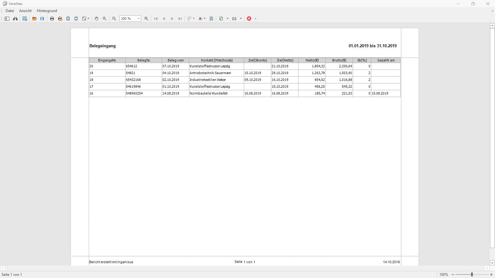Ingenious Software Belegeingang Rechnungseingangsbuch Ausdruck
