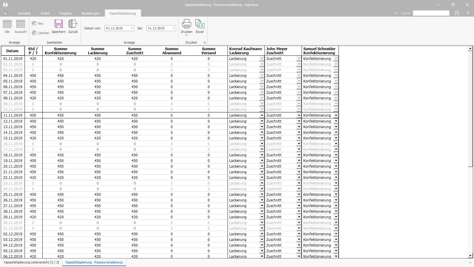 Ingenious Software Kapazitätsplanung Einsatzplanung