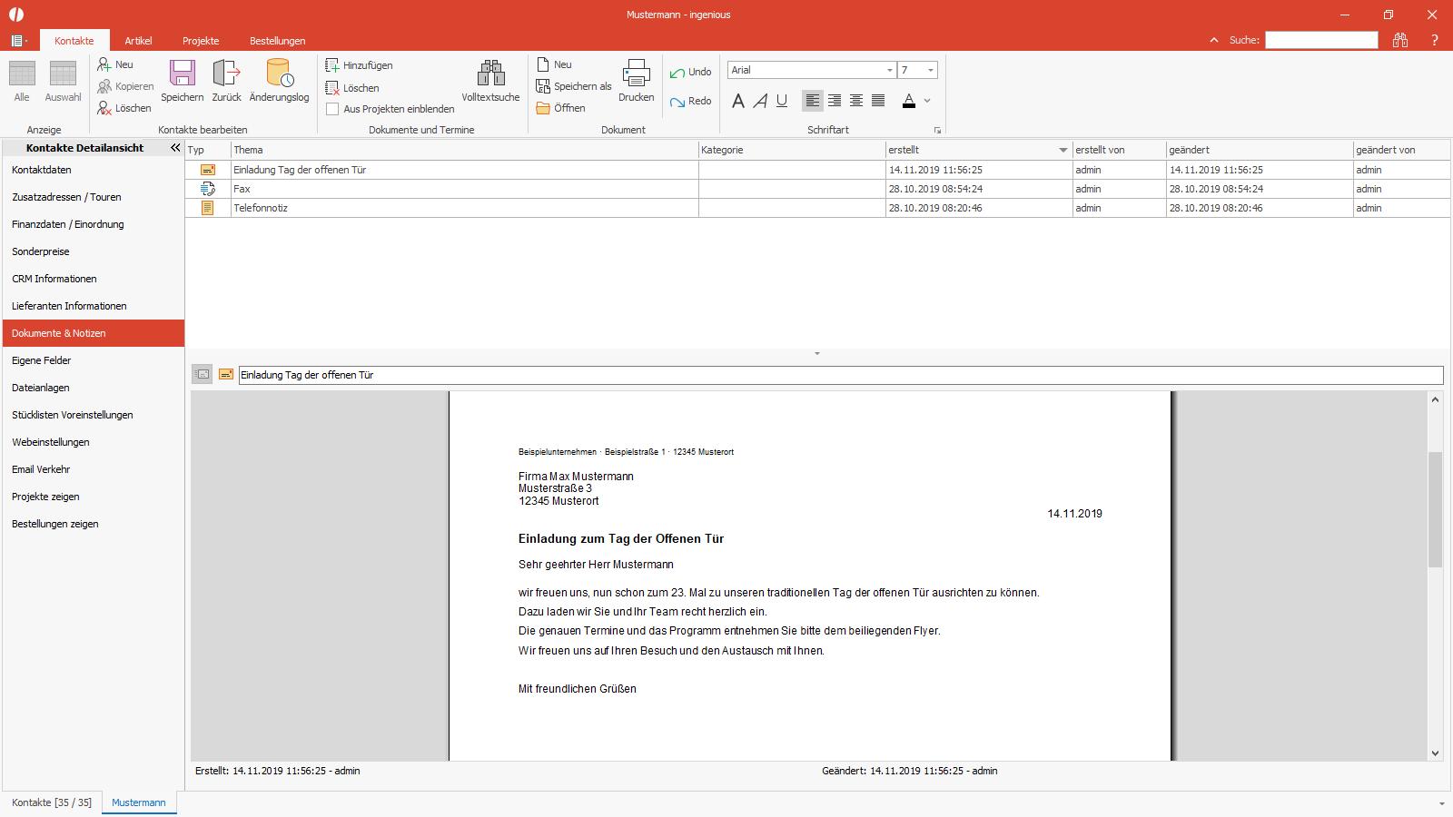 Ingenious Software Kontakte Detailansicht Dokumente Notizen