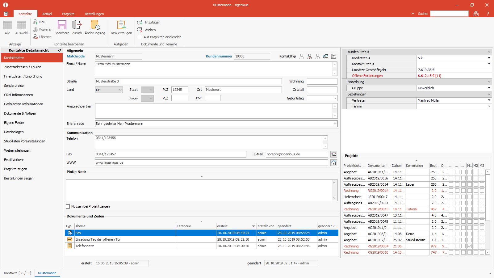 Ingenious Software Kontakte Detailansicht Dashboard