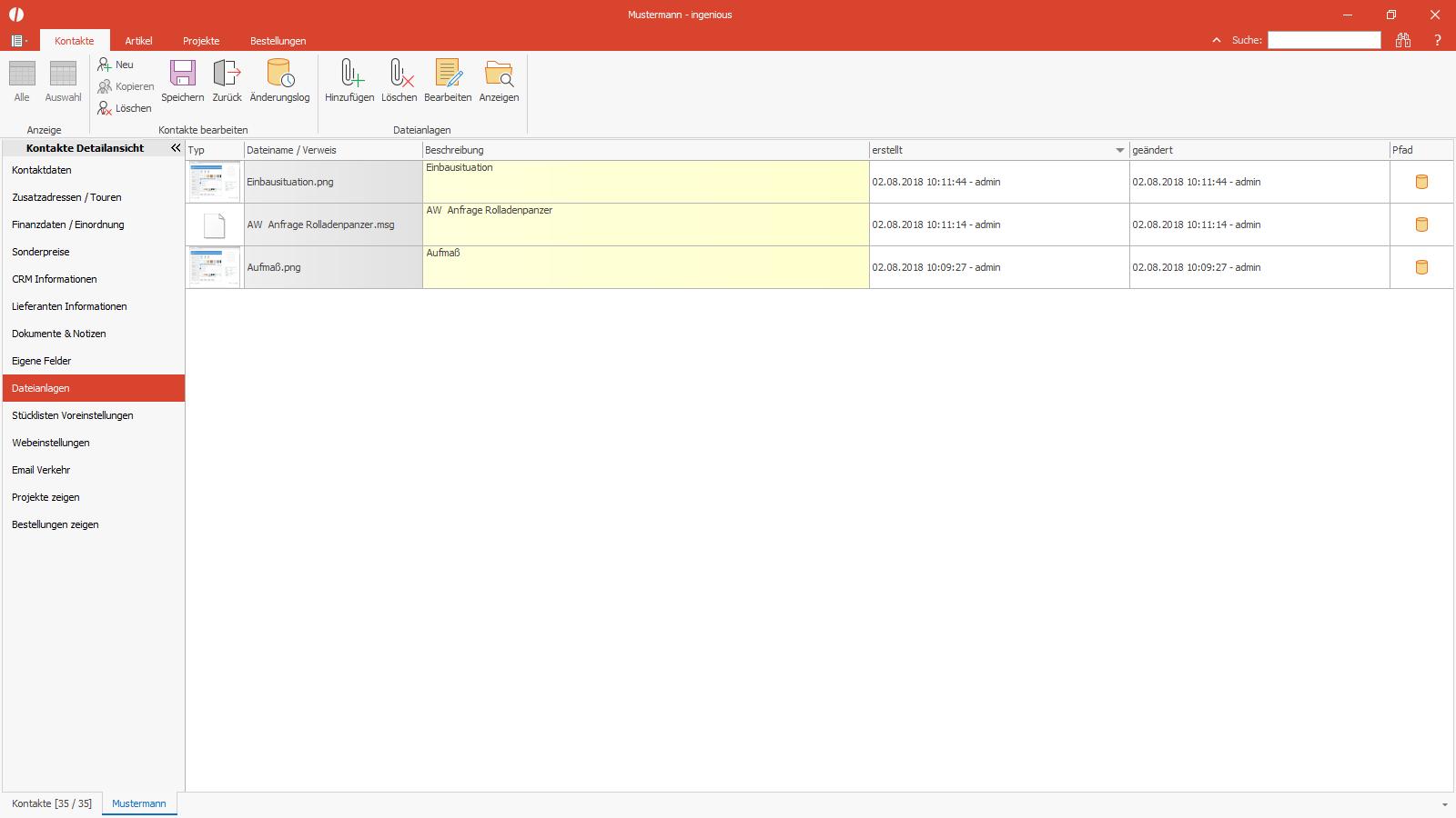 Ingenious Software Kontakte Detailansicht Dateianlagen