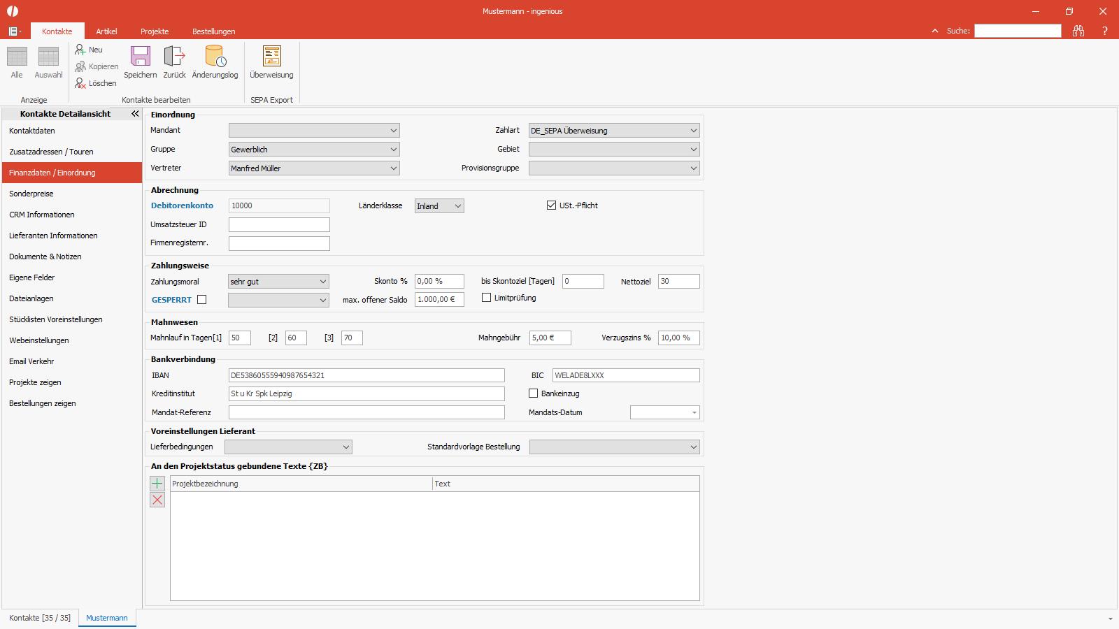 Ingenious Software Kontakte Detailansicht Finanzdaten