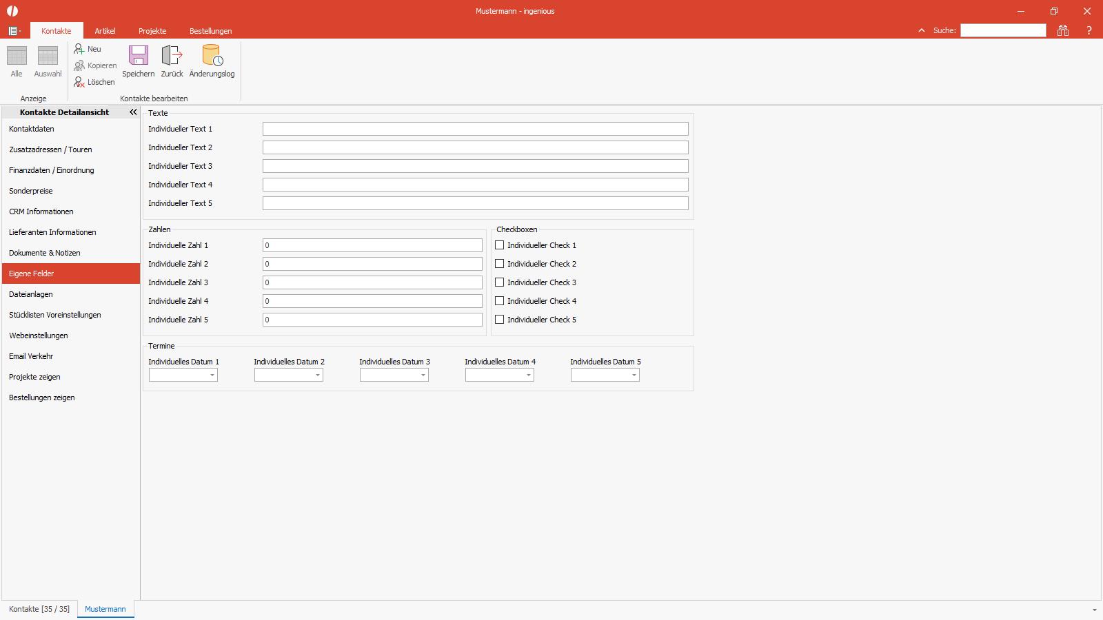 Ingenious Software Kontakte Detailansicht individuelle Felder