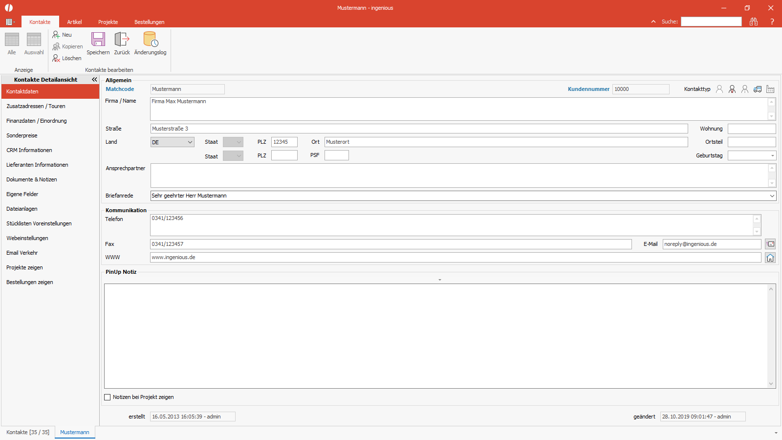 Ingenious Software Kontakte Detailansicht Kontaktdaten