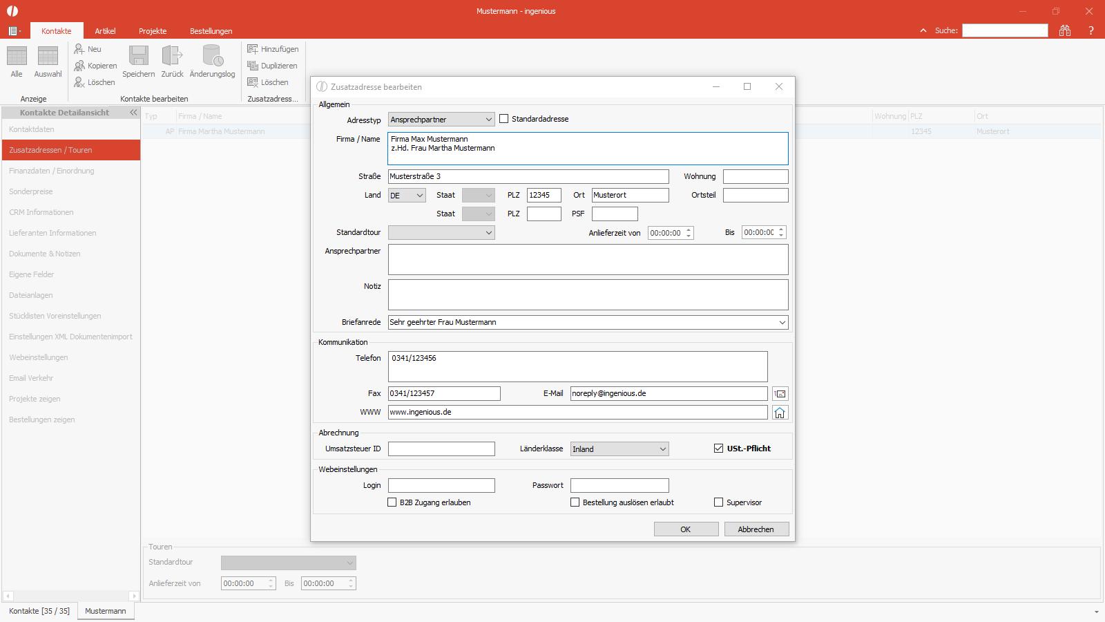 Ingenious Software Kontakte Detailansicht Zusatzadressen