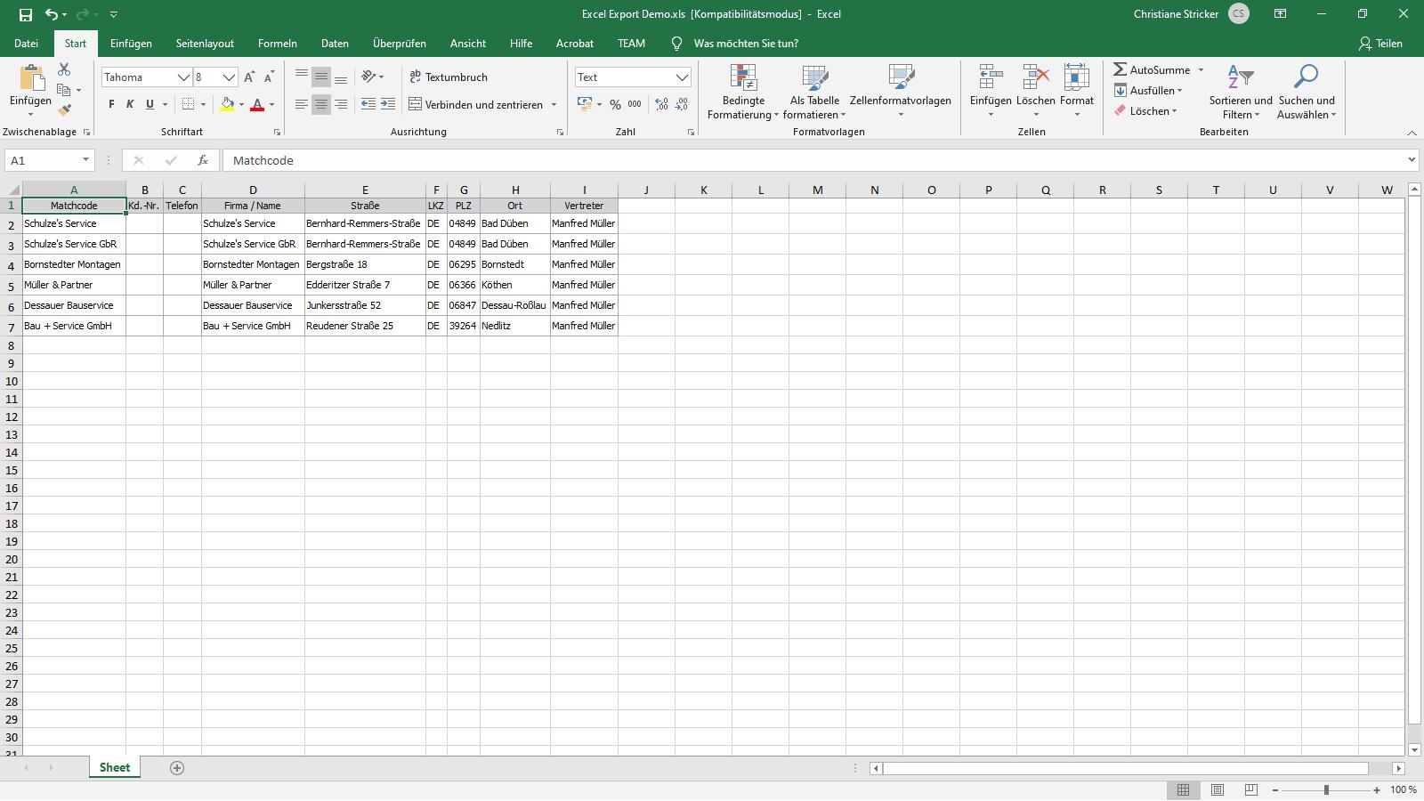 Ingenious Software Kontakte Listenansicht Excel Export