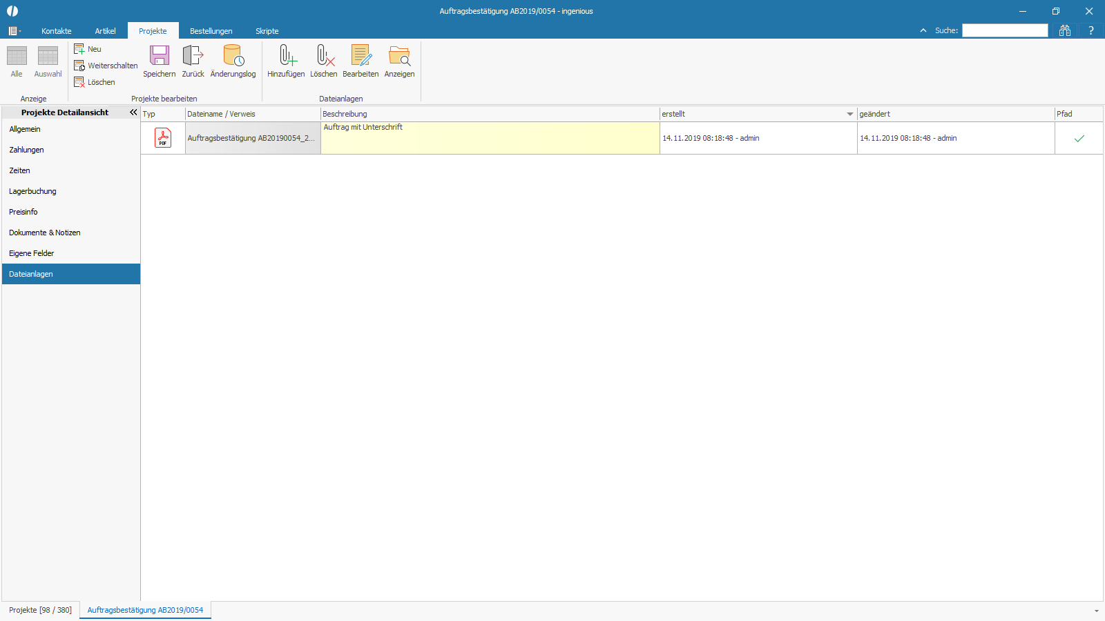 Ingenious Software Projekte Detailansicht Dateianlagen