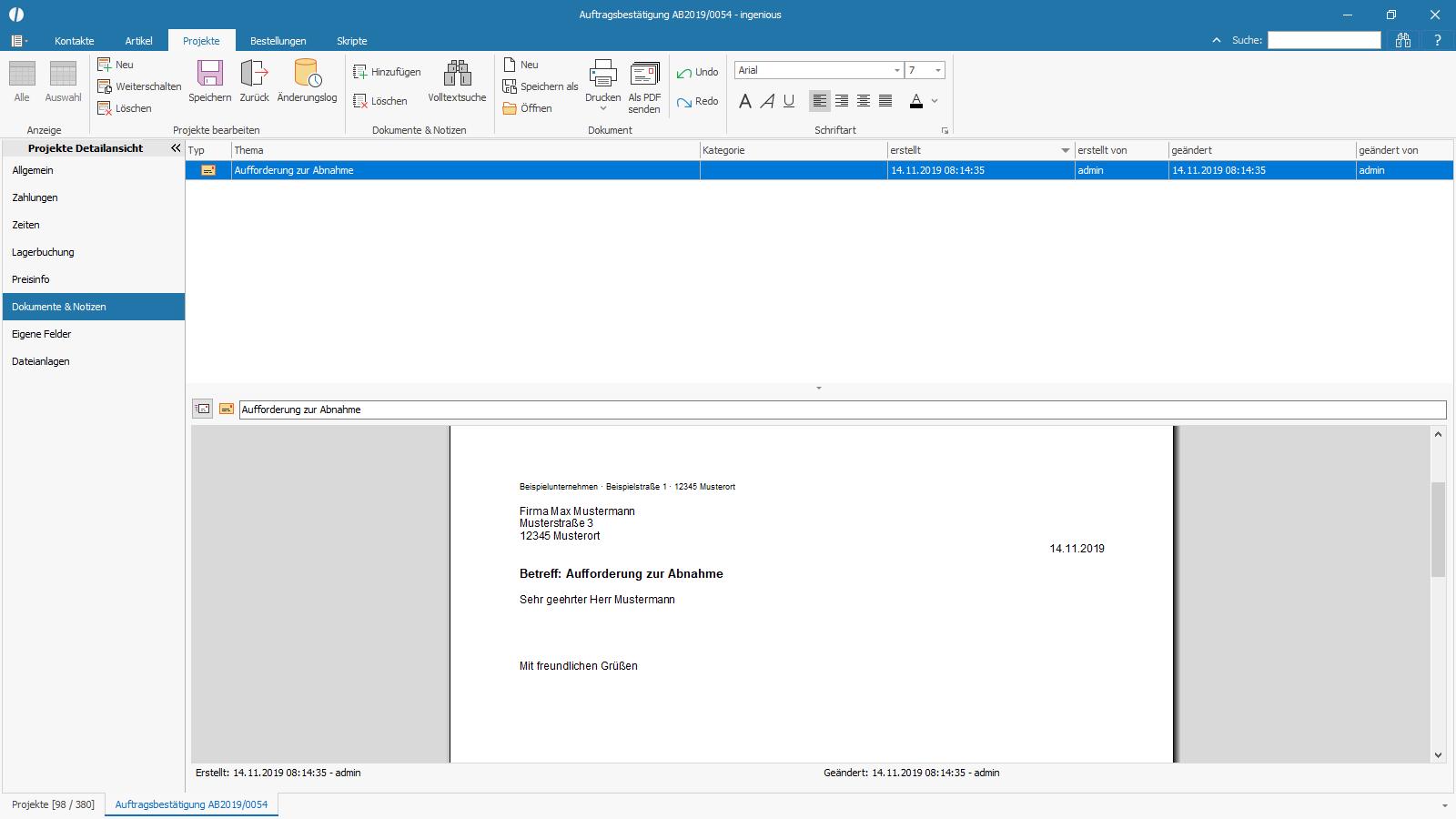 Ingenious Software Projekte Detailansicht Dokumente