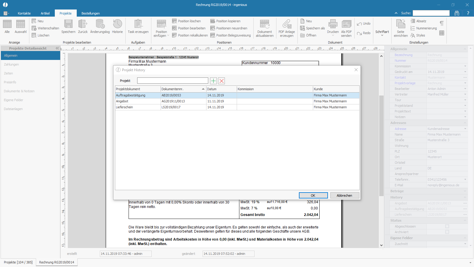 Ingenious Software Projekte Detailansicht Projekthistorie