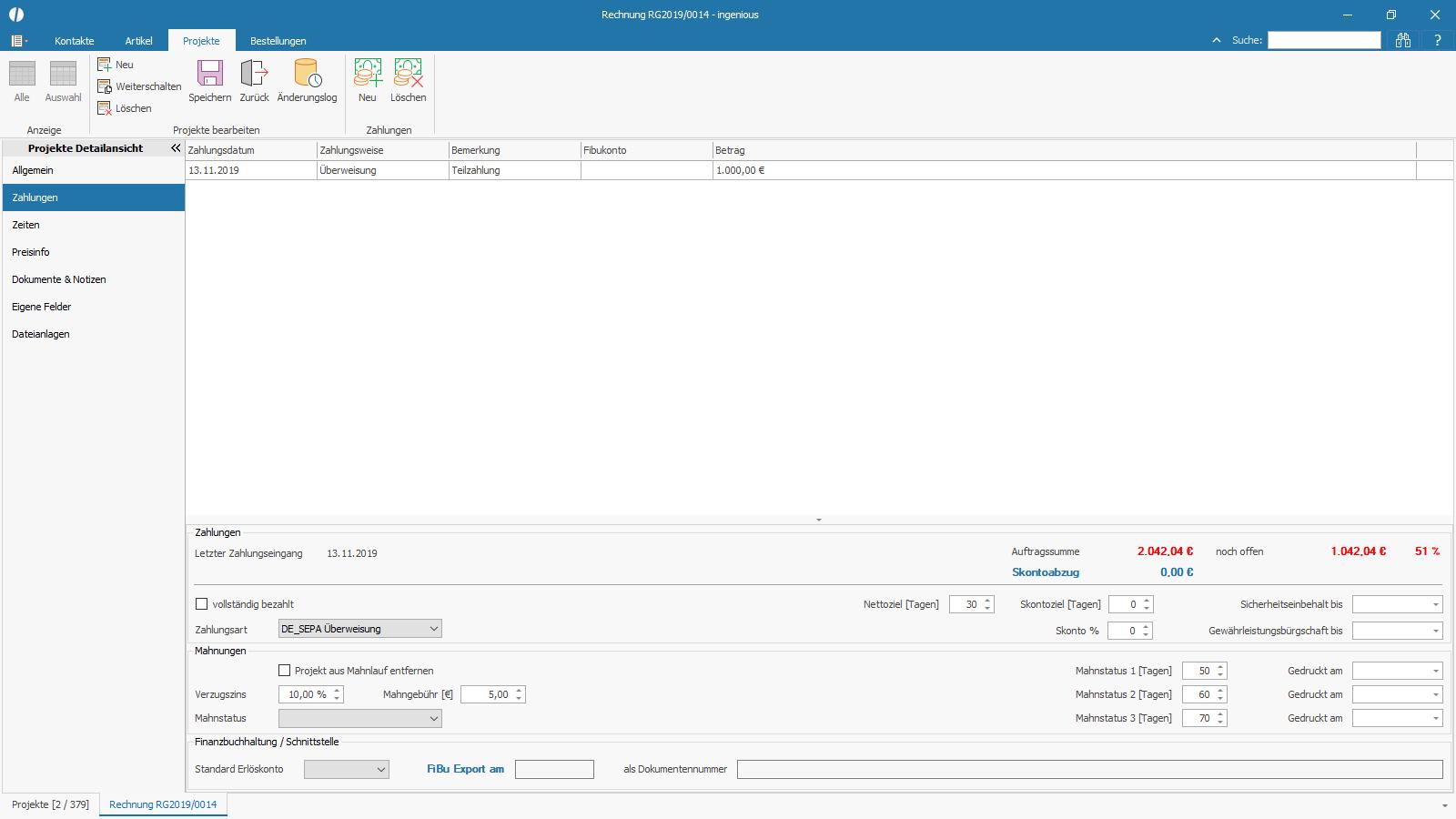 Ingenious Software Projekte Detailansicht Zahlungen