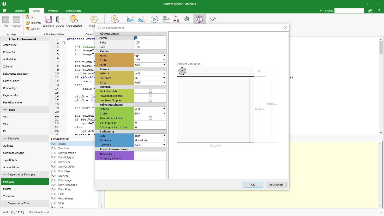 Ingenious Software Stücklisten Bildskript